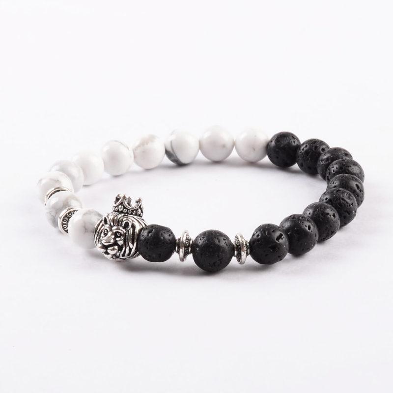 Crowned Lion Peace & Calmness Bracelet- Howlite & Lava Stone Beads