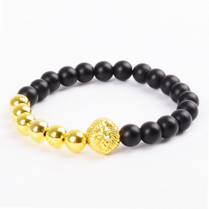 Alpha Golden Lion Protection Bracelet - Matte Black Agate & Golden Beads