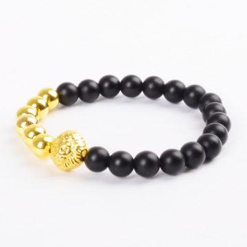 Alpha Golden Lion Protection Bracelet - Matte Black Agate