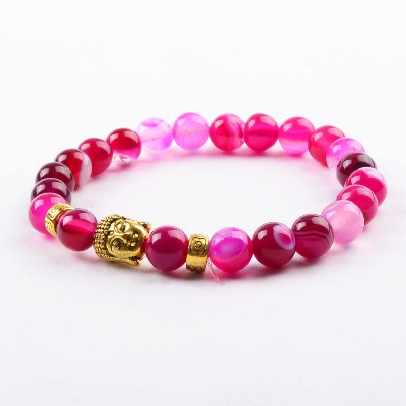 Golden Buddha Passion & Love Bracelet   Pink Agate Stone Beads