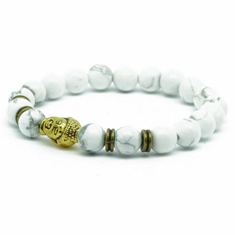 Golden Buddha Knowledge & Patience Bracelet | White Howlite Stones