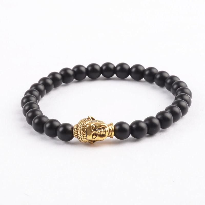 Golden Buddha Protection Bracelet   Matte Black Stones 6mm