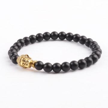 Golden Buddha Protection Bracelet | Matte Black Stones 6mm 2