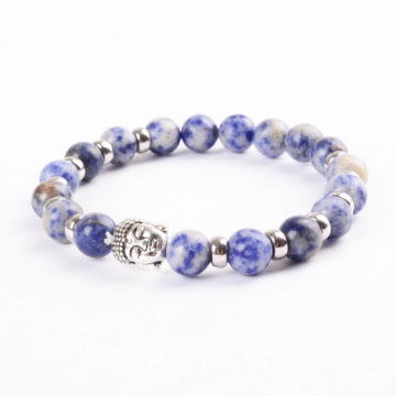 Silver Buddha Creativity Enhancer Bracelet | Nahcolite Blue White Stones 2