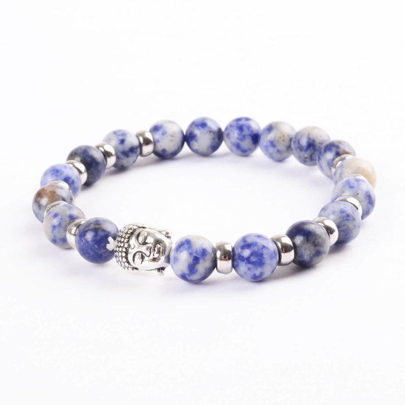 Silver Buddha Creativity Enhancer Bracelet | Nahcolite Blue White Stones