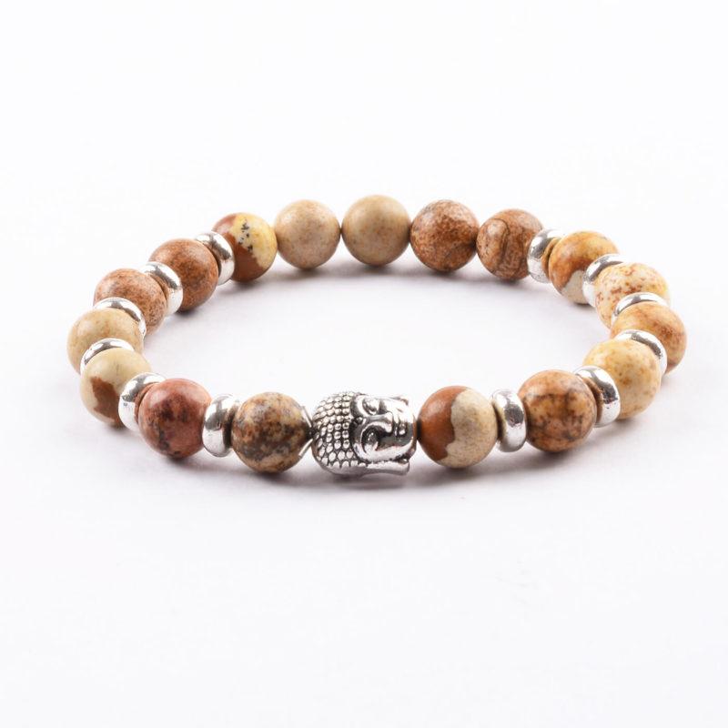 Silver Buddha Will Power & Stability Bracelet   Picture Jasper Stones