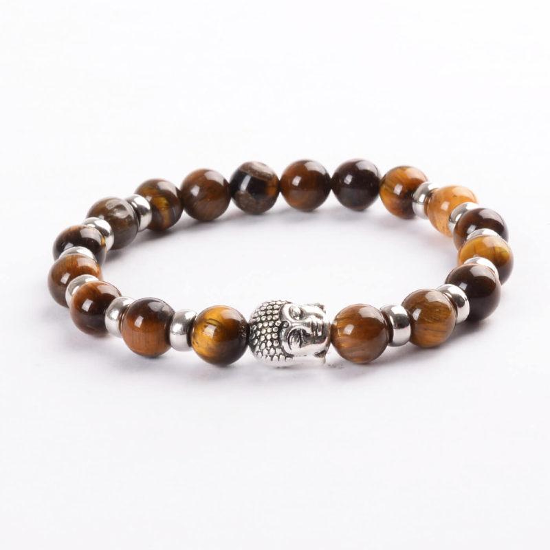 Silver Buddha Harmony & Protection Bracelet | Tiger Eye Stones