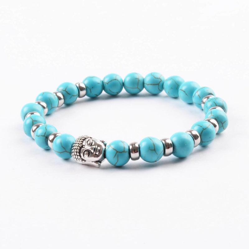 Silver Buddha Psychic Creativity Bracelet | Turquoise Stone Beads