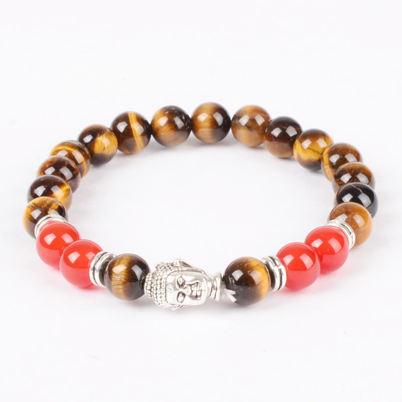Silver Buddah Protection & Passion Bracelet | Tiger Eye & Red Agate Stones