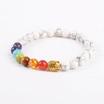 Golden Buddha Creation Bracelet | Full Chakra Stones & White Howlite