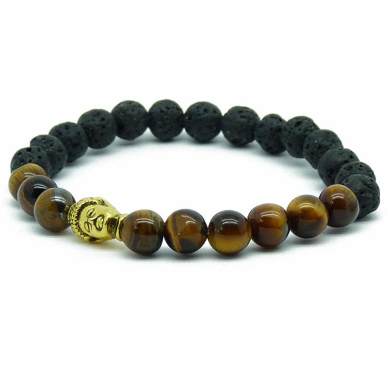 Golden Buddha Strength & Protection Bracelet   Tiger Eye & Lava Stones