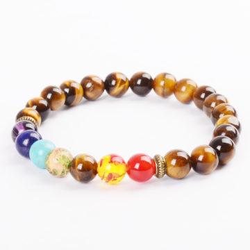 Life Balancing & Will Power Bracelet | Full Chakra & Tiger Eye Stone Beads
