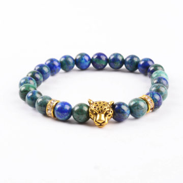 Gold Panther Stress Buster & Creativity Bracelet   Azurite Jasper Stones