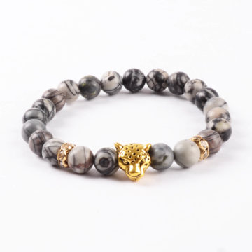 Golden Panther Wisdom & Protection Bracelet   Spider Web Jasper Stone Beads