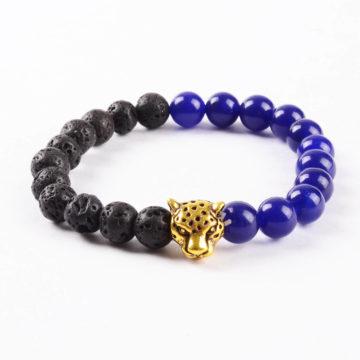 Golden Panther Peace & Wisdom Bracelet | Lazurite & Black Lava Stone Beads