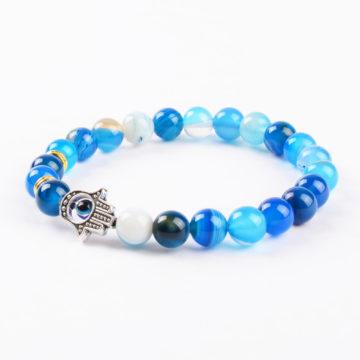 Hamsa Hand Positive Approach Bracelet | Blue Agate Stone Beads 2