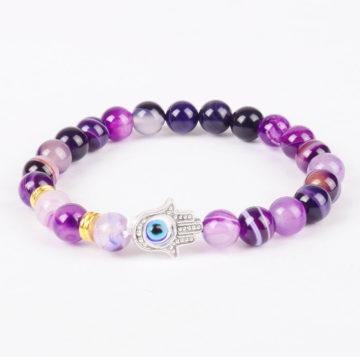Hamsa Hand Inner Strength Bracelet | Purple Agate Stone Beads