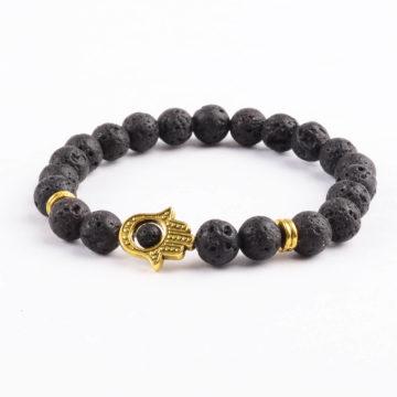 Golden Hamsa Hand Emotional Calmness Healing Bracelet | Black Lava Stones 2