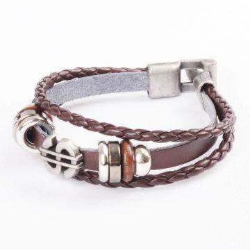 Dollar Charm Beaded Vintage Leather Bracelet For Men - Brown 2