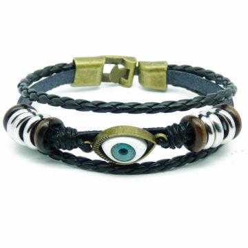 Beaded Blue Evil Eye Leather Bracelet For Men - Black