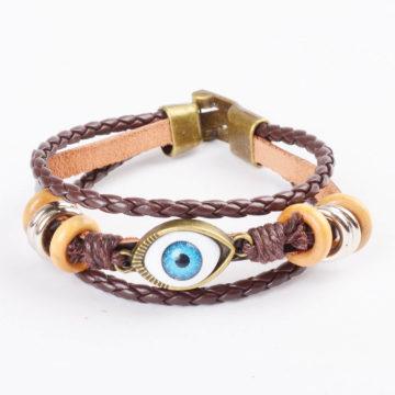 Beaded Blue Evil Eye Leather Bracelet For Men - Brown