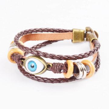 Beaded Blue Evil Eye Leather Bracelet For Men - Brown 2