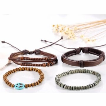 Adjustable Leather And Wooden Beads Bracelet Stack - Brown 2