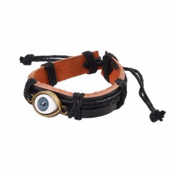 Adjustable Blue Evil Eye Leather Bracelet - Black 2