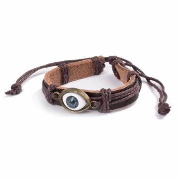 Adjustable Blue Evil Eye Leather Bracelet - Brown 2