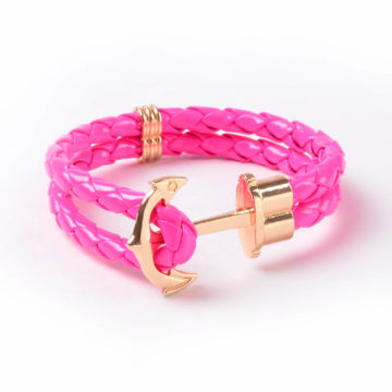 Friendship Leather Bracelet With Golden Anchor - Pink