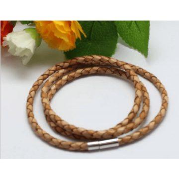 Braided Triple Wrap Genuine Leather Bracelet - Tan 2
