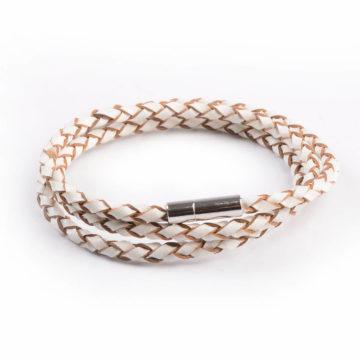 Braided Triple Wrap Genuine Leather Bracelet - White