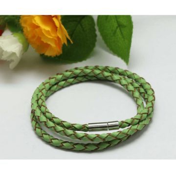 Braided Triple Wrap Genuine Leather Bracelet - Green 2
