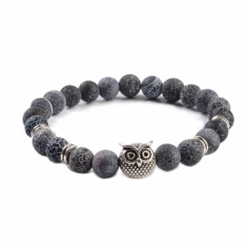 Silver Owl Emotional Stability Bracelet | Frosted Veins Stone Beads