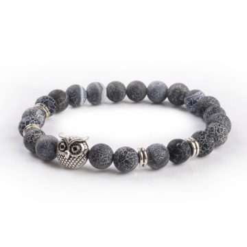 Silver Owl Emotional Stability Bracelet | Frosted Veins Stone Beads 2