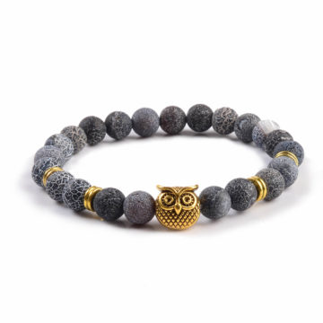 Golden Owl Emotional Stability Bracelet | Frosted Veins Stone Beads