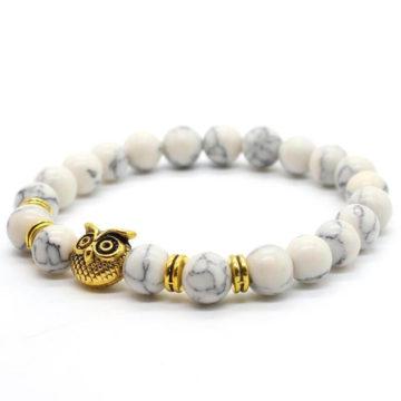 Golden Owl Ambitious Progress Bracelet | White Howlite Stone Beads 2