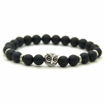 Silver Owl Courage & Protection Bracelet | Matte Black Agate Stone Beads