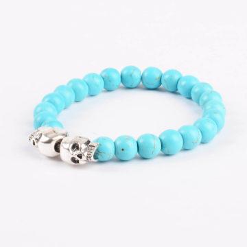 Double Silver Skulls Honesty and Friendship Bracelet | Turquoise Stone Beads 2