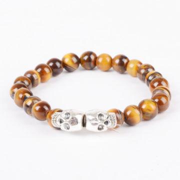 Double Silver Skulls Strength & Stealth Bracelet | Tiger Eye Stone Beads
