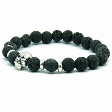 Silver Skull Emotional Calmness Healing Bracelet | Black Lava Stone Beads 2