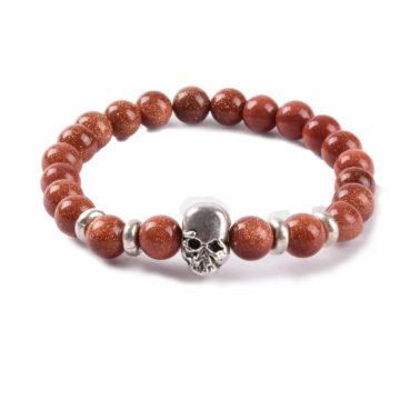 Silver Skull No Fear Bracelet | Gold Sand Stones Beads