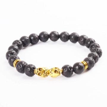 Double Golden Skulls Emotional Calmness Bracelet | Black Lava Stone Beads