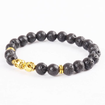 Double Golden Skulls Emotional Calmness Bracelet | Black Lava Stone Beads 2
