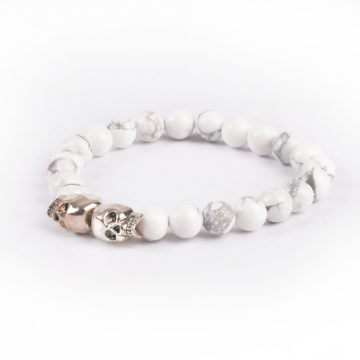 Double Silver Skulls Ambitious Progress Bracelet | Howlite Stone Beads 2
