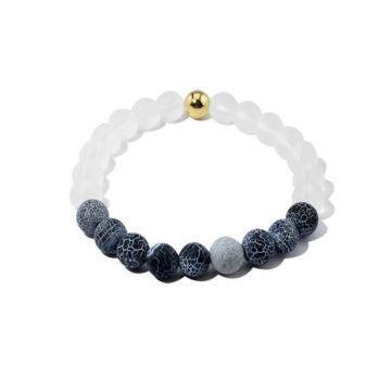 Summer Vibes Bracelet | White Bead & Black Weathered Agate Stones