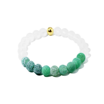 Summer Vibes Bracelet | White Bead & Green Weathered Agate Stones