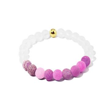 Summer Vibes Bracelet | White Bead & Purple Weathered Agate Stones