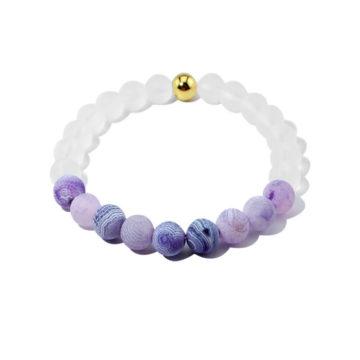Summer Vibes Bracelet | White Bead & Blue Weathered Agate Stones