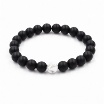 Protection And Piece Bracelet | Black Agate And White Howlite Stone Beads